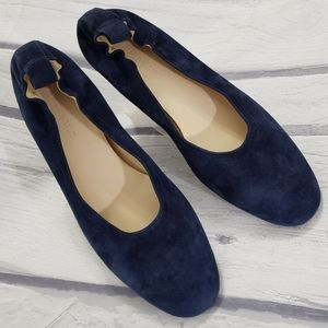 Everlane blue suede day flats